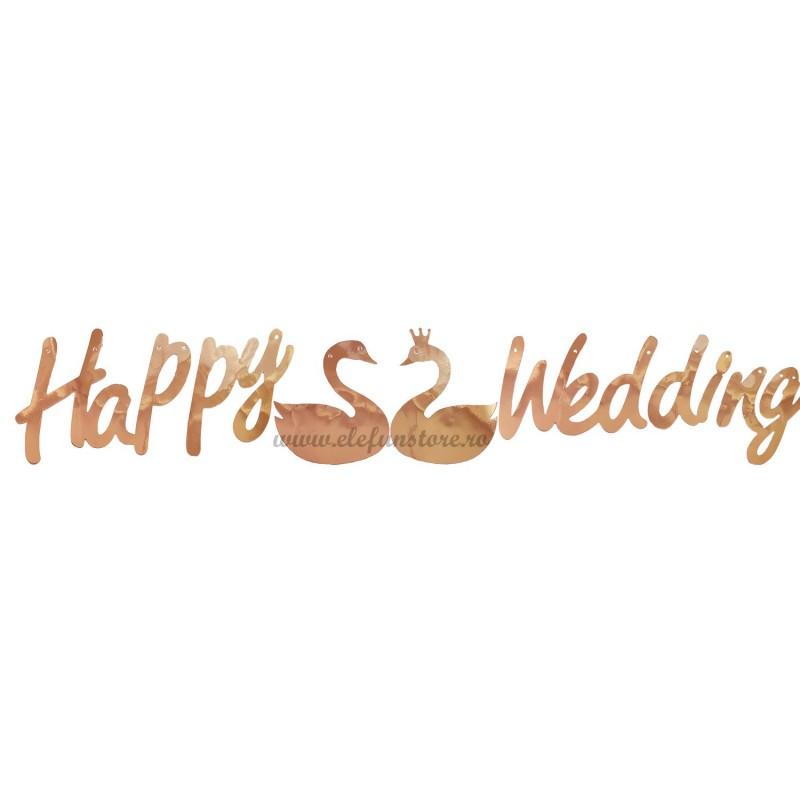 Banner Happy Wedding Rose Gold