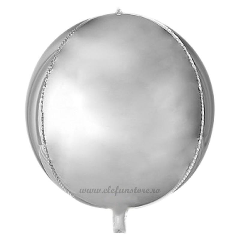 Balon Sfera 3D 25cm Argintiu Satin
