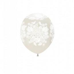 Set 10 baloane Dantela Alba 13 cm