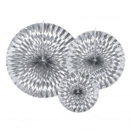 Set 3 rozete evantai argintii