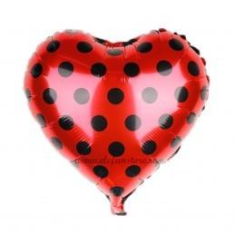 Balon Inima Rosie cu Buline Negre