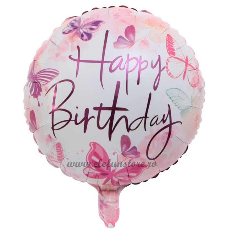 Balon Happy Birthday cu Fluturasi Pictati