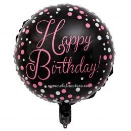 Balon Happy Birthday Negru cu Bulinute