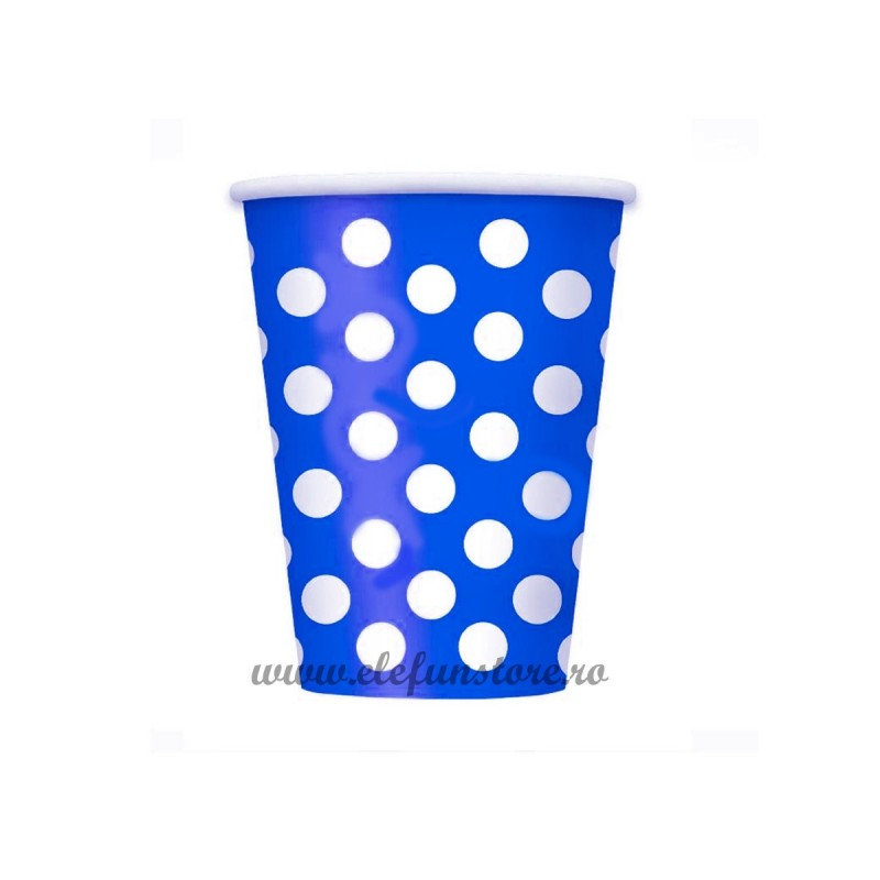 Set 10 pahare Albastre cu Buline Albe