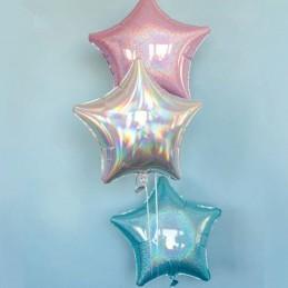 Balon Stea Iridiscenta Argintie 45cm