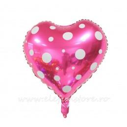 Balon Inima Alba cu Buline Magenta