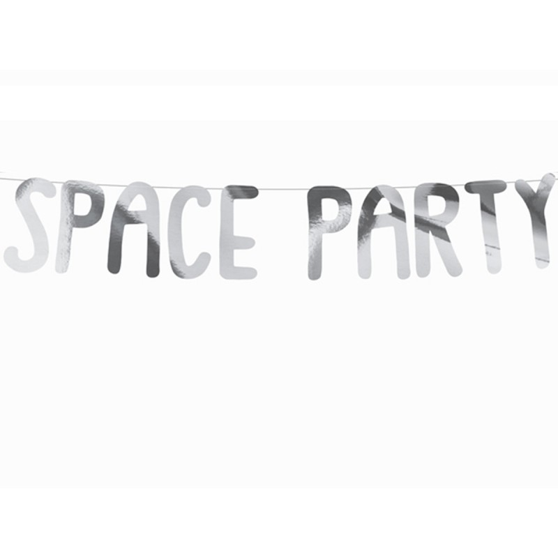 Banner Space Party Argintiu 96cm
