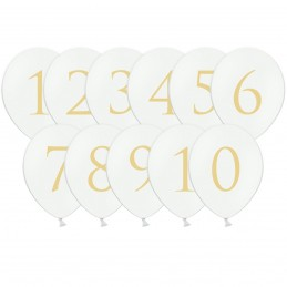 Set 10 baloane albe Cifre 1-10 Aurii