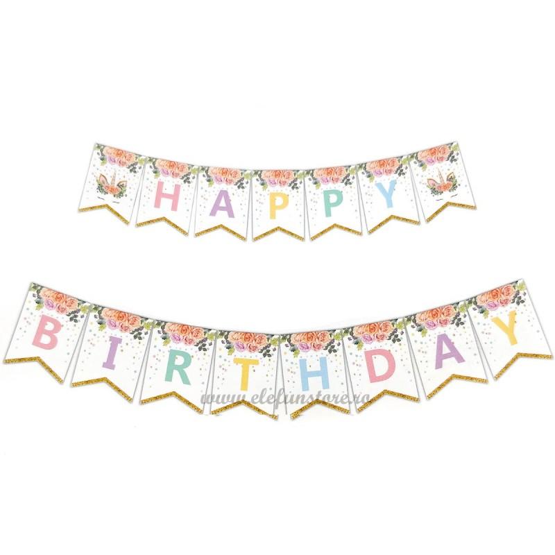 Banner Happy Birthday cu Unicorni