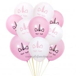 Set 10 baloane Unicorn Alb si Roz