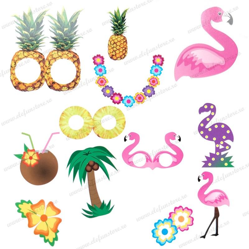 Set 12 Sabloane Foto Props Flamingo Tropical