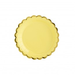 Set 8 farfurii rotunde galbene 18 cm cu volanase aurii