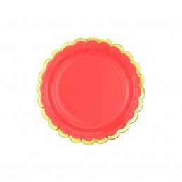 Set 8 farfurii rosii 18 cm cu volanase aurii