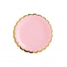Set 8 farfurii rotunde roz 18 cm cu volanase aurii