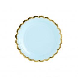 Set 8 farfurii rotunde bleu 18 cm cu volanase aurii