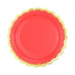 Set 8 farfurii rotunde rosii 23 cm cu volanase aurii