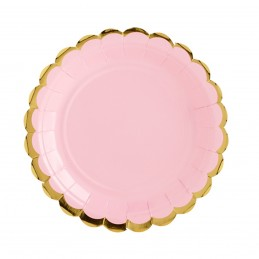 Set 8 farfurii roz 23 cm cu volanase aurii