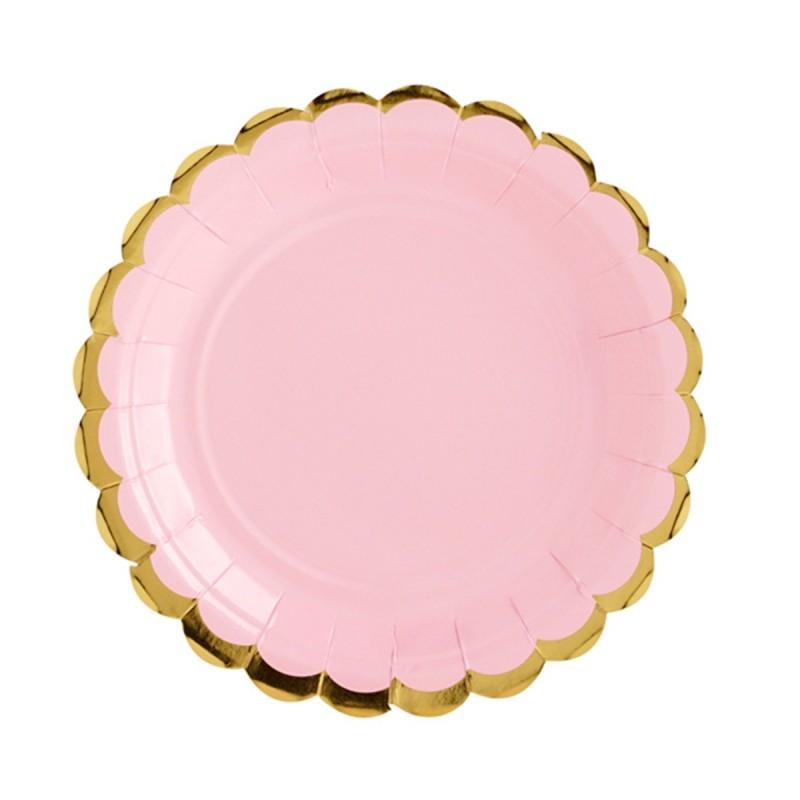 Set 8 farfurii rotunde roz 23 cm cu volanase aurii