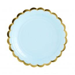 Set 8 farfurii bleu 23 cm cu volanase aurii