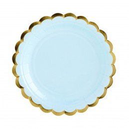 Set 8 farfurii rotunde bleu 23 cm cu volanase aurii