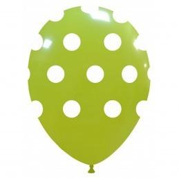 Set 10 Baloane Verde Lime cu buline
