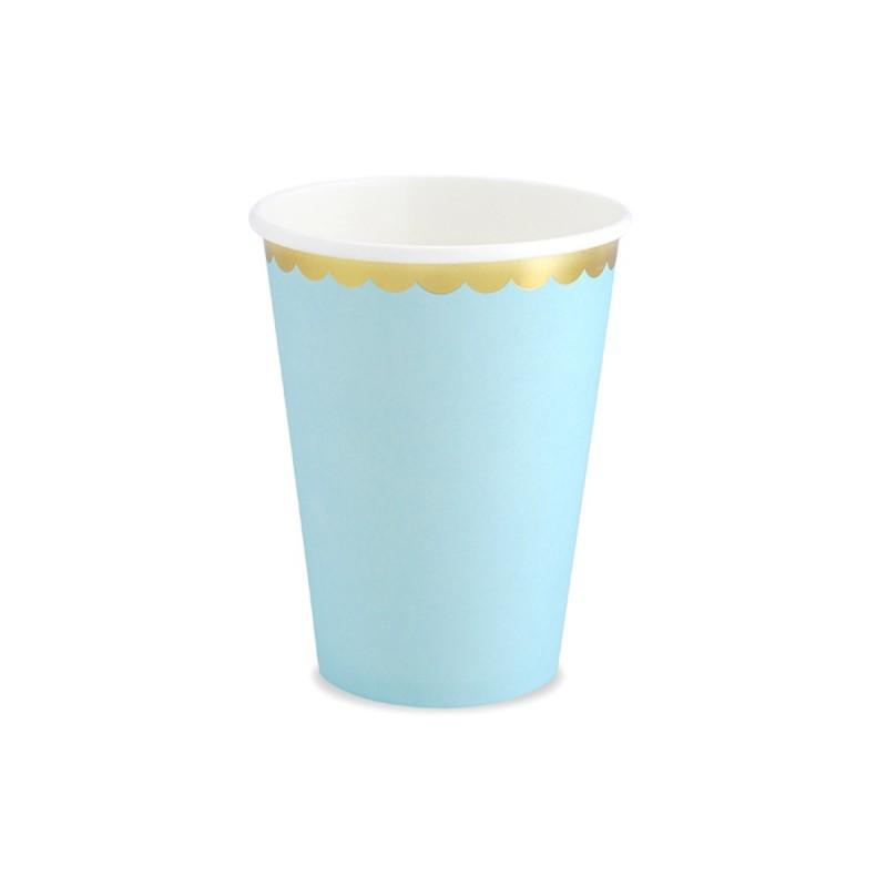 Set 8 pahare bleu cu volanase aurii