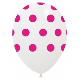 Set 10 Baloane Albe cu buline roz