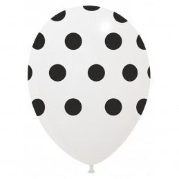Set 10 Baloane Albe cu buline Negre