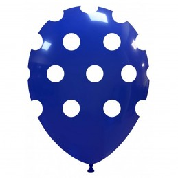 Set 10 Baloane Albastru Inchis cu buline