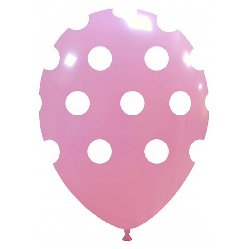 Set 10 Baloane roz cu buline