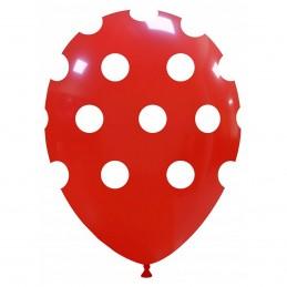 Set 10 Baloane rosii cu buline