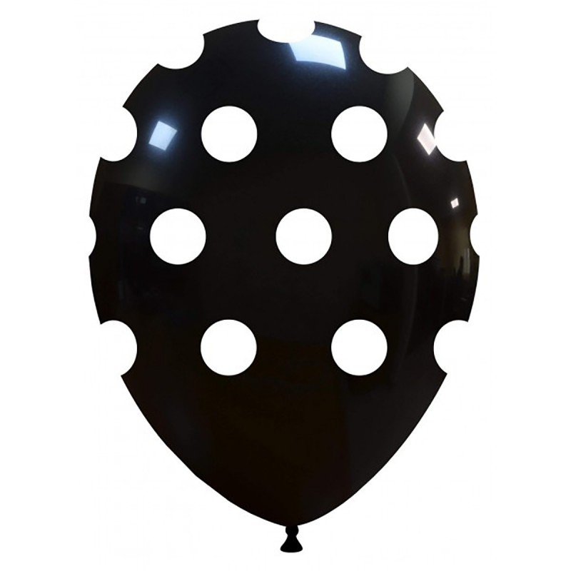 Set 10 Baloane negre cu buline