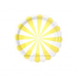 Set 8 farfurii galbene cu dungi 18 cm