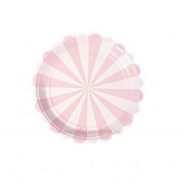 Set 8 farfurii roz cu dungi 18 cm