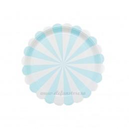 Set 8 farfurii bleu cu dungi 18 cm