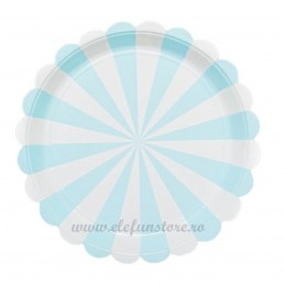 Set 8 farfurii bleu cu dungi 23 cm
