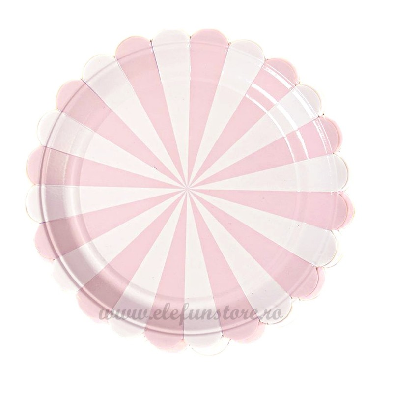 Set 8 farfurii roz cu dungi 23 cm