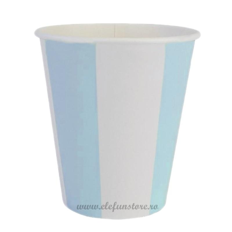 Set 8 pahare bleu cu dungi