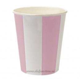 Set 8 pahare roz cu dungi