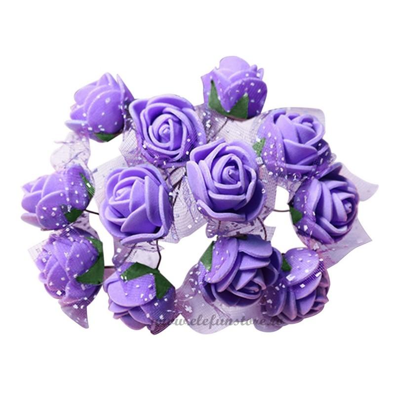 Set 144 trandafiri din spuma lila 2cm