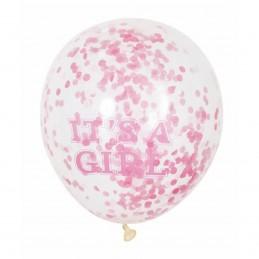 Set 5 baloane cu confetti It's a Girl