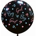 Balon Jumbo Girl or Boy ? Negru Gender Reveal