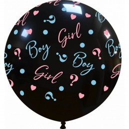 Balon Jumbo Girl or Boy ? Negru Gender Reveal
