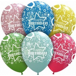 Set 10 baloane Happy Birthday Crazy Multicolore