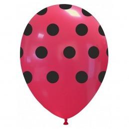 Set 10 Baloane Rosii cu buline Negre