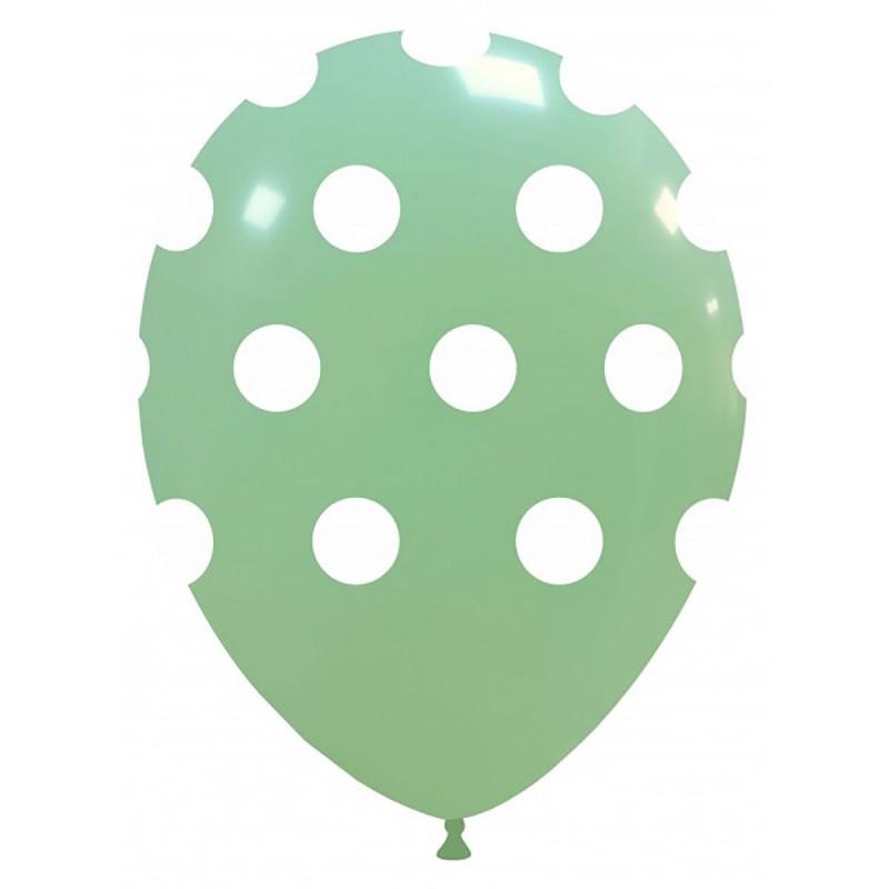 Set 10 Baloane Pastel Verde Menta cu buline