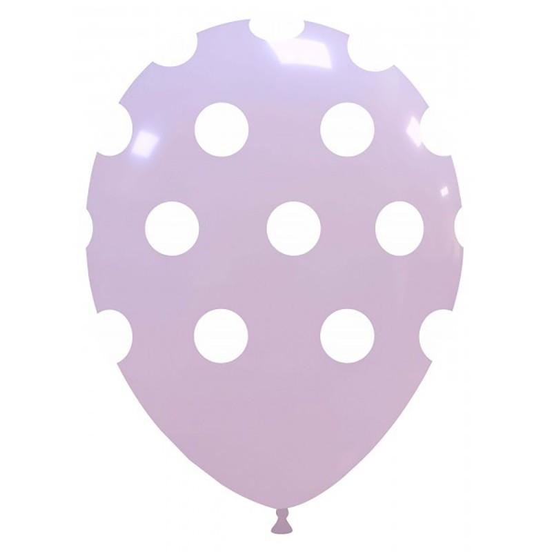 Set 10 Baloane Pastel Lila cu buline