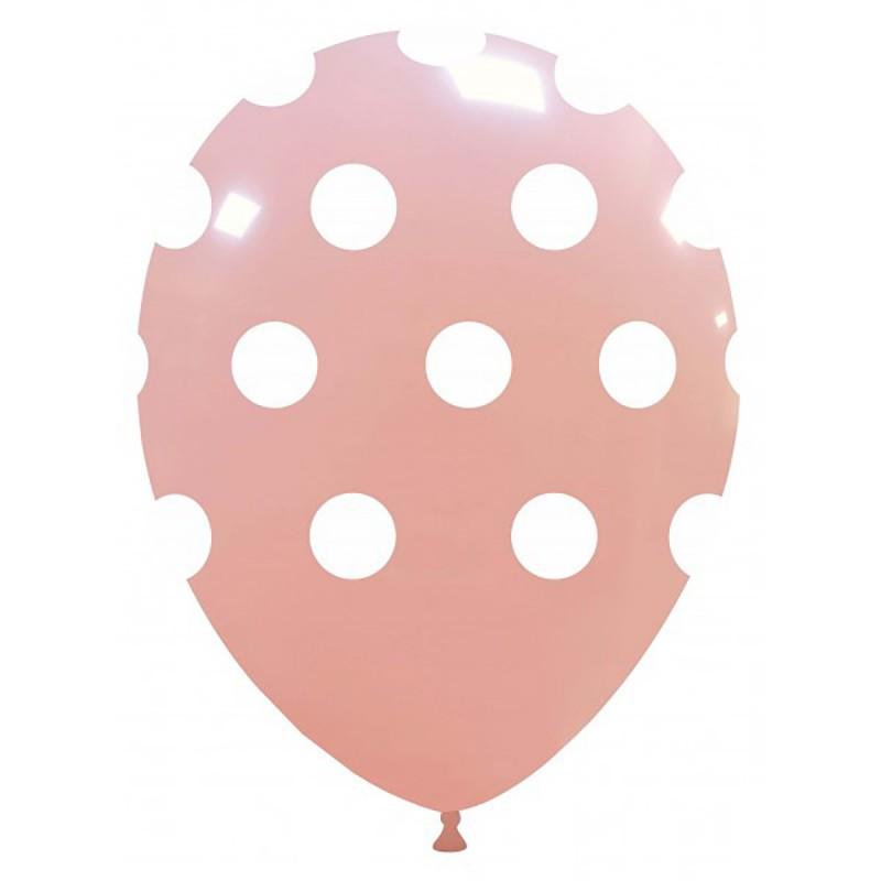 Set 10 Baloane Pastel Baby Pink cu buline