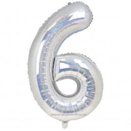Balon Cifra 6 Argintiu Holografic 100cm