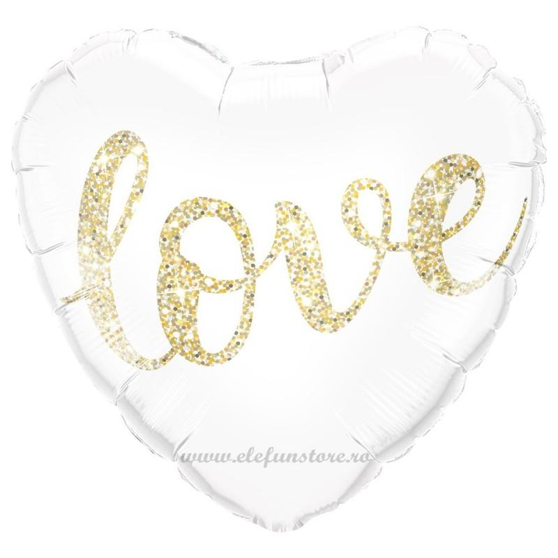 Balon Inima Alba cu scris LOVE